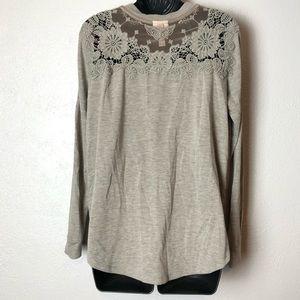 KNOX ROSE grey soft long sleeve crochet shirt Sz M